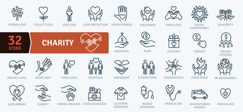Charity Icons Pack. Thin line icons set. Flat icon collection set. Simple vector icons