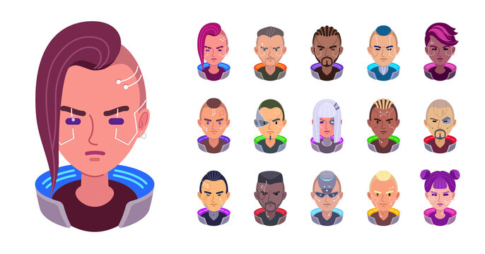 Vector set of cyberpunk avatars. Futuristic girls and men with a different implants. Customized portraits of a cyborgs. Heads are augmented with thin facial bionic parts. Cute sci-fi fashion.