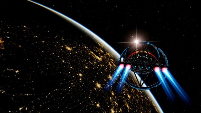 spaceship near the earth, earth and a space jet, ufo near the earth, the future of earth 3d render