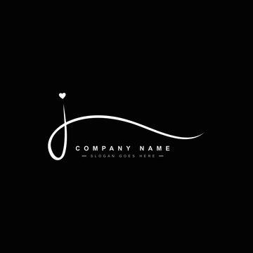J Letter Signature Logo - J letter Initial Logo - Logo for Company Name Starts with Letter J