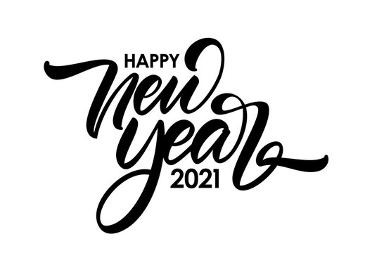Handwritten calligraphic brush lettering composition of Happy New Year 2021 on white background.