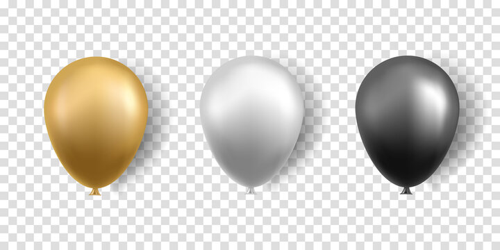 Balloons isolated on transparent background. Gold, silver and black balloons with shadow. Vector illustration.