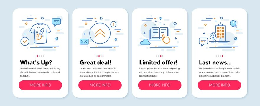 Set of Business icons, such as Technical documentation, T-shirt design, Swipe up symbols. Mobile app mockup banners. Skyscraper buildings line icons. Manual, Painting, Scroll screen. Vector