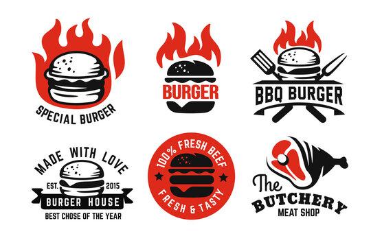 burger emblem on fire set for menu