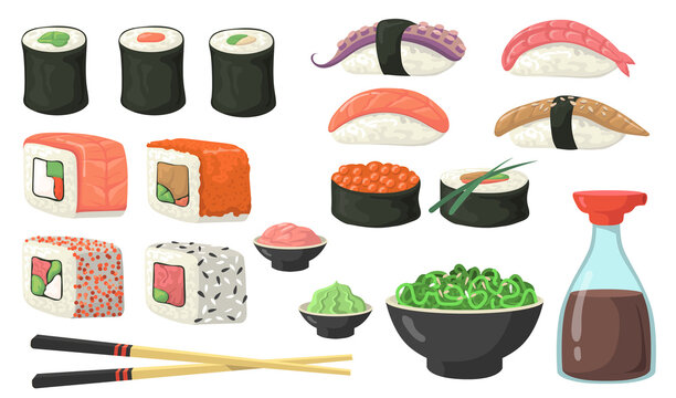 Different sushi, rolls and nigiri flat set for web design. Cartoon susi with shrimp, salmon and eel isolated vector illustration collection. Japanese food, cooking and cuisine concept