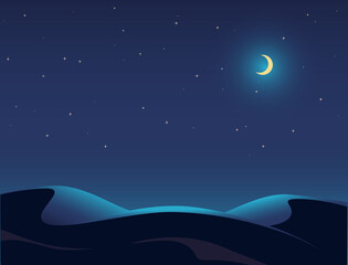 Night Desert Landscape Illustration, Starry Sky, Moon, Dune