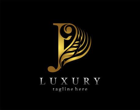 Golden initial J letter luxury beauty flourishes ornament monogram logo