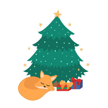 Sleeping fox and gifts under the Christmas tree. Flat vector illustration.