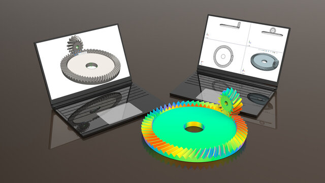 3D rendering - gears stress analysis