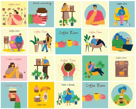 Coffee set illustrations. People spend their time in the cafeteria, drinking cappuccino, latte, espresso and eating desserts