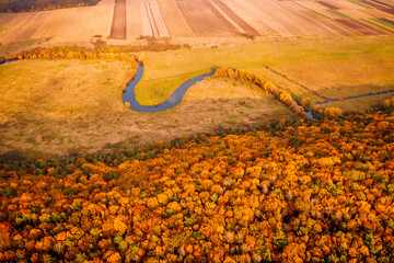 Wall Mural - Picturesque aerial photography of the autumn landscape.