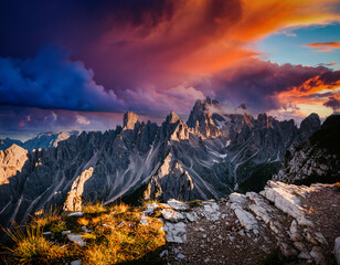 Wall Mural - Scenic surroundings of the national park Tre Cime di Lavaredo. Location Dolomiti alp, South Tyrol, Italy.