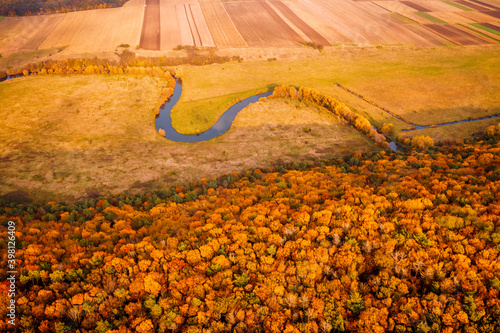 Wall mural Picturesque aerial photography of the autumn landscape.
