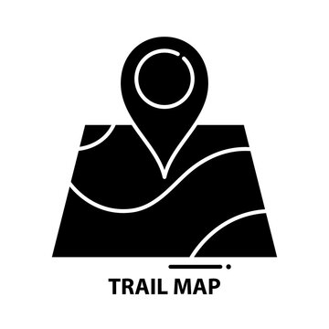 trail map icon, black vector sign with editable strokes, concept illustration