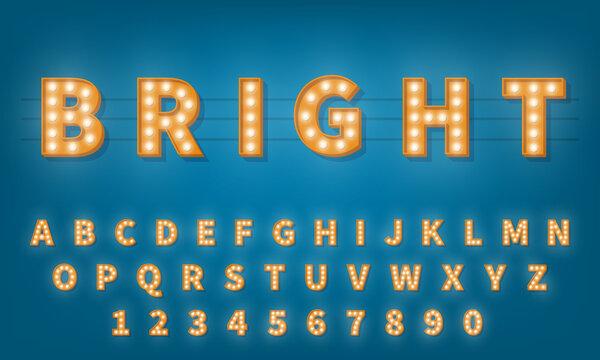 Retro light bulb font. Vintage style 3d retro typography typeface alphabet