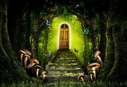 Fantasy world. Mushrooms at stone steps leading to magic door in enchanted forest