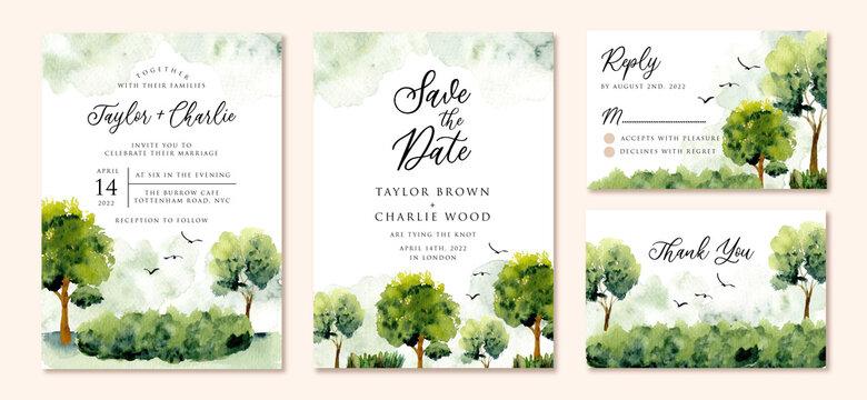 wedding invitation set with green landscape watercolor