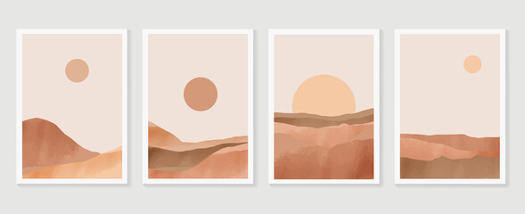 Mountain wall art vector set. Earth tones landscapes backgrounds set with moon and sun.  Abstract Plant Art design for print, cover, wallpaper, Minimal and  natural wall art. Vector illustra