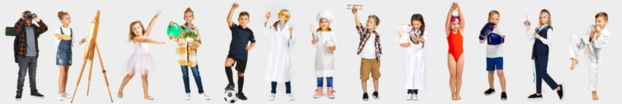 children dream of the future. Little child girl and boy want to become football player, ballerina, doctor, scientist, chef, tailor, artist, swimmer, gardener, boxer or pilot.