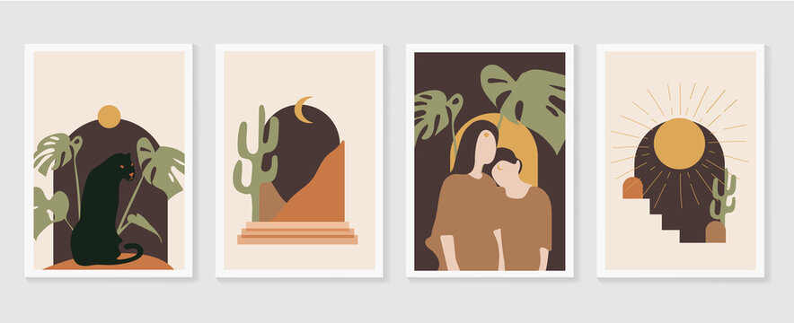 Tropical windows frame wall art vector.  Abstract arts design with couple , desert, sun and cactus, black jaguar sunset and monstera leaves background. Vector illustration