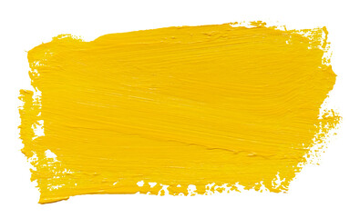 Vector paint brush stroke texture isolated on white - yellow acrylic element for Your design - fototapety na wymiar