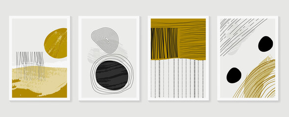 Abstract wall arts vector collection. Earth tones organic shape Art design for poster, print, cover, wallpaper, Minimal and natural wall art. Vector illustration.