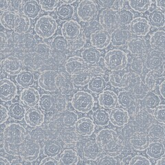 Seamless french farmhouse linen mottled print background. Provence blue gray linen rustic pattern texture. Shabby chic style worn woven blur flax textile all over print.