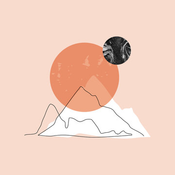 Modern minimalist mountain, sun, moon background for wall paper, poster, cover, T-shirt design