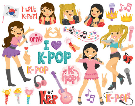 K-pop and Korean idols clipart set. Cartoon characters and symbols from the popular Korean music trend.