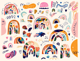 Fototapete - Big spring collection of decorative doodles and rainbows and abstract shapes with splashes