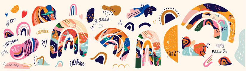 Fototapete - Spring colorful set of abstract doodles, rainbows and shapes