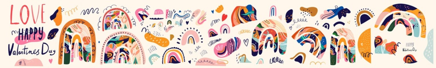 Fototapete - Decorative abstract horizontal banner with colorful doodles and rainbows. Hand-drawn modern illustration