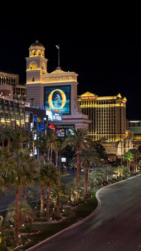 Las Vegas, Nevada, USA - October 2, 2017: night scene of a section of the famous Las Vegas Strip popular for its casinos and entertainment, with partial view of the Bellagio and Caesars Palace hotels