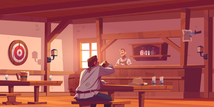 Man in beer pub, retro tavern or antique bar interior with barista stand at desk, benches and tables, wooden barrel, shelf with bottles, lantern and darts, old style saloon Cartoon vector illustration