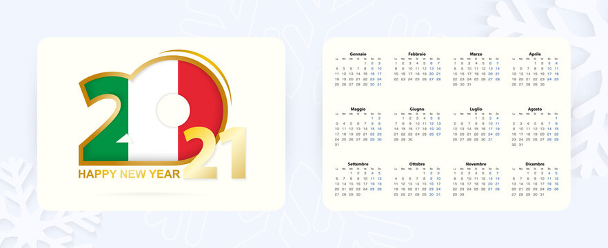 Horizontal Pocket Calendar 2021 in Italian language. New Year 2021 icon with flag of Italy.
