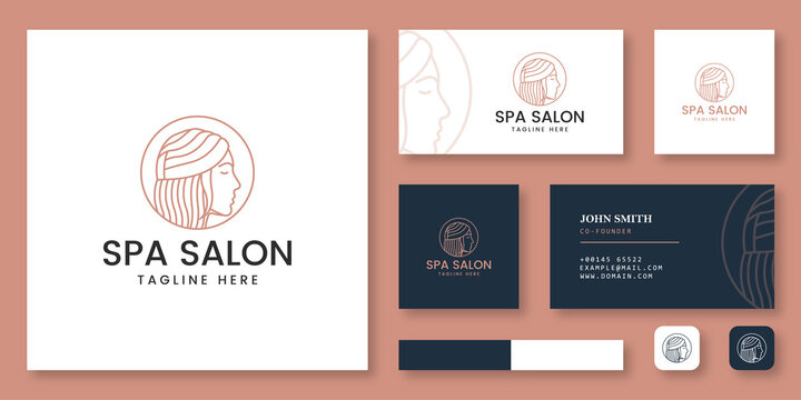 Spa Salon logo mockup with business card template