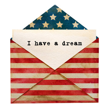 Beautiful greeting card with the image of the American Flag. Textured wood surface. Close-up, view from above. Congratulations for family, relatives, friends and colleagues