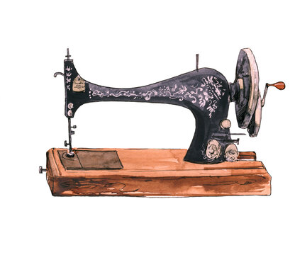 Watercolor illustration of an old sewing machine rarity
