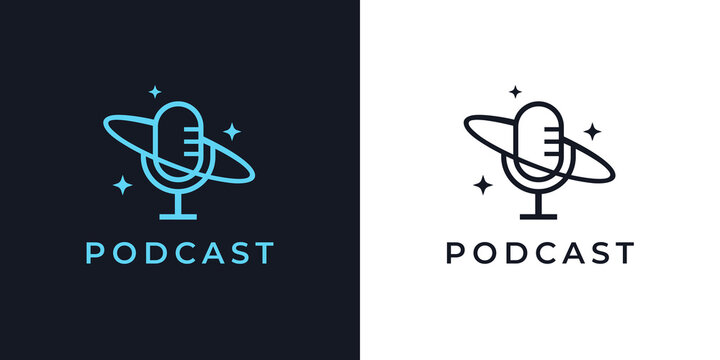 Night time podcast logo. Cosmos microphone line icon. Space mic symbol. Late night radio talk show sign. Vector illustration.