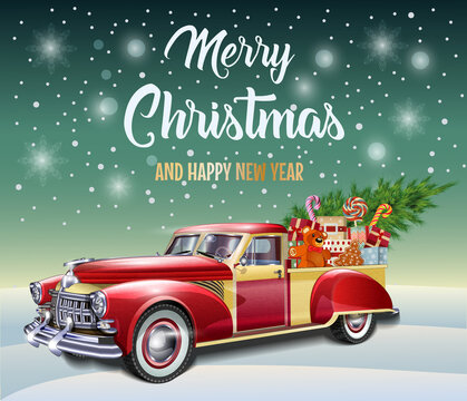 Christmas  poster with Christmas gift boxes and  tree in retro red truck.