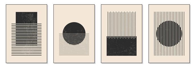 Fototapeta Minimal 20s geometric design poster, vector template with primitive shapes