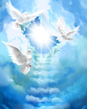 The flying three white doves around clouds stairs leading to shining heaven and the background of the clouds in beautiful blue sky