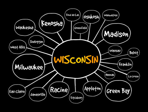 List of cities in Wisconsin USA state mind map, concept for presentations and reports