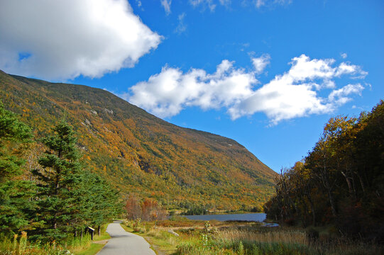 Franconia Notch with fall foliage and Echo Lake in Franconia Notch State Park in White Mountain National Forest, near Lincoln, New Hampshire NH, USA.