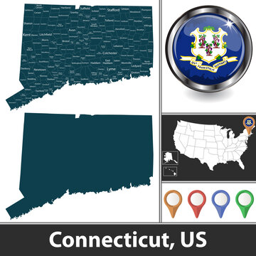 Map of Connecticut, US