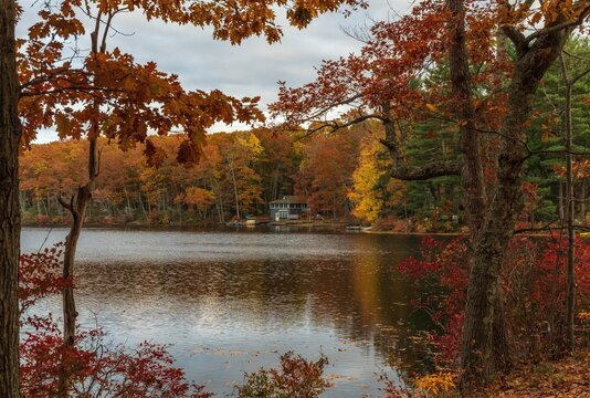 A lake in the Fall in Massachusetts