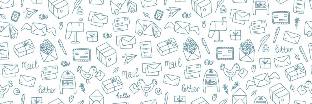 Post doodle web banner. Hand drawn cute mails and letters, documents, package and envelope, vintage correspondence, delivery service and post office blue vector elements on white horizontal background
