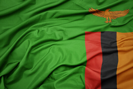 waving colorful national flag of zambia.