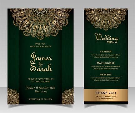 Mandala Wedding card design or invitation. Vintage decorative Background