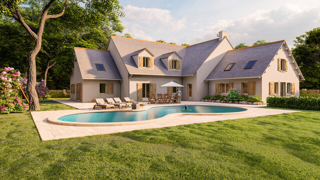 Classical pitched roof house with pool and garden